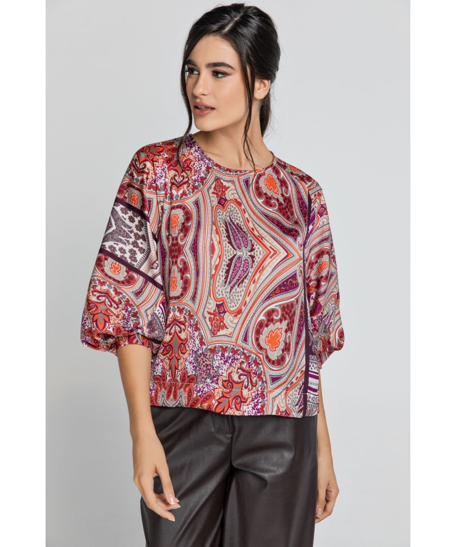 Image for Red Print Top with Bishop Sleeves