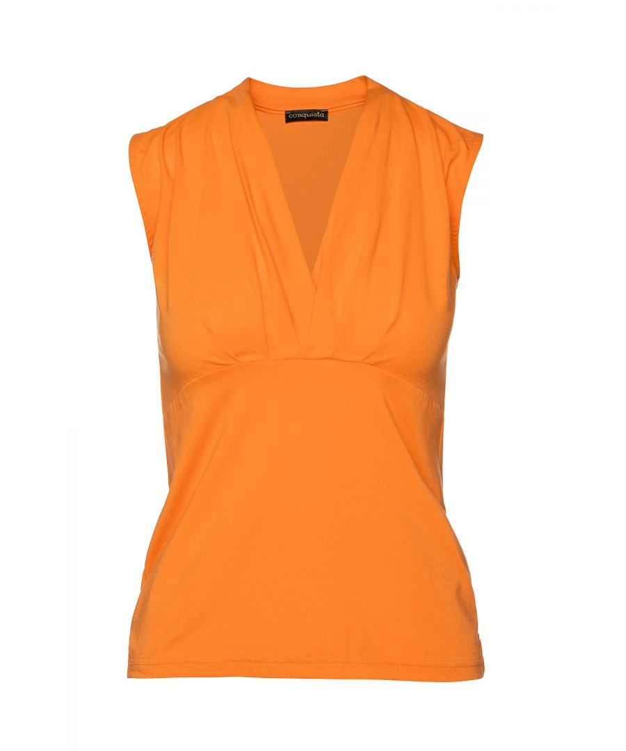 Image for Orange Faux Wrap Sleeveless Top