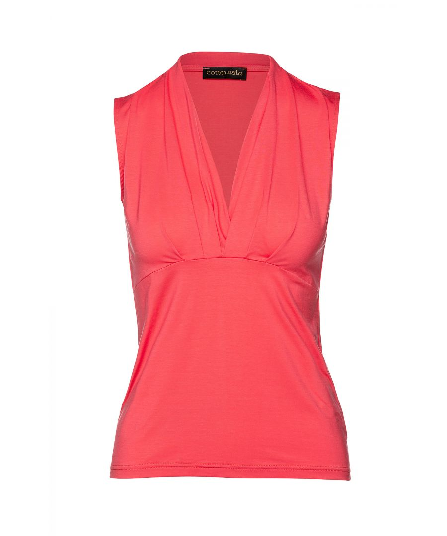 Image for Coral Sleeveless Faux Wrap Top