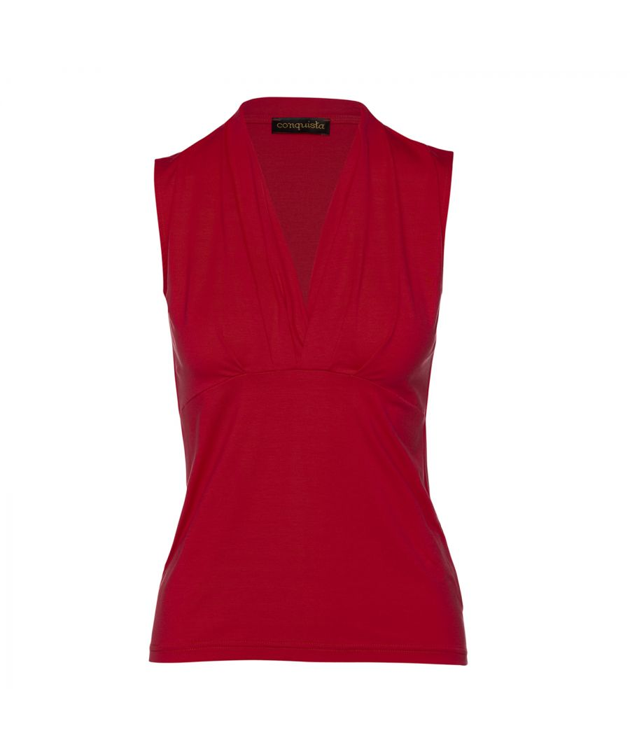 Image for Red Faux Wrap Sleeveless Top