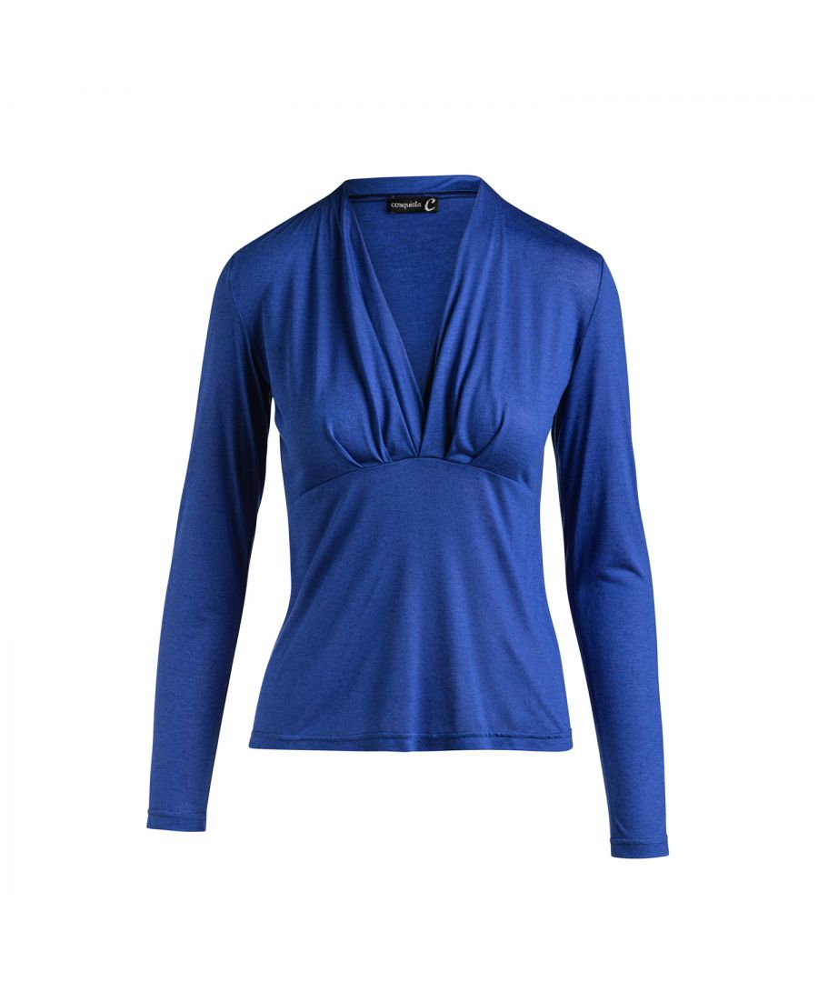 Image for Cashmere Blend Long Sleeve Faux Wrap Top in Stretch Jersey Sustainable Fabric