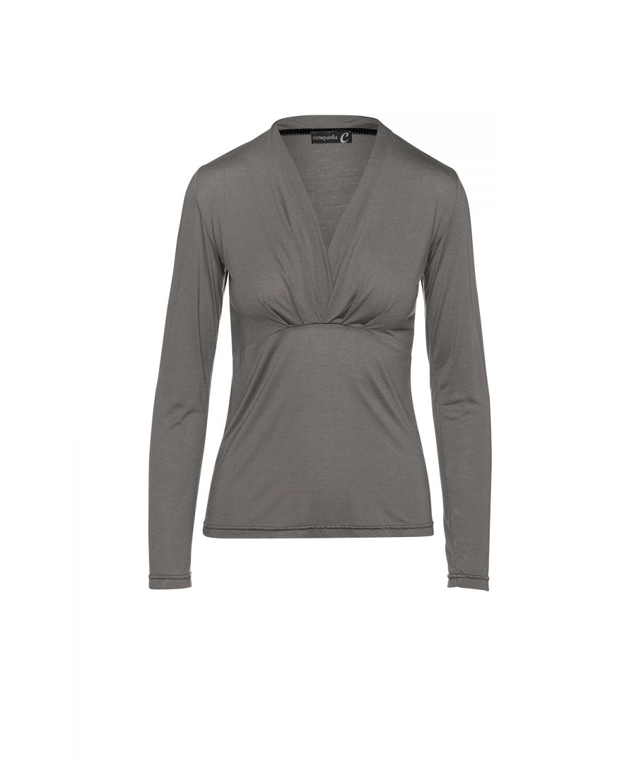 Image for Dark Grey Cashmere Blend Long Sleeve Faux Wrap Top in Stretch Jersey Sustainable Fabric