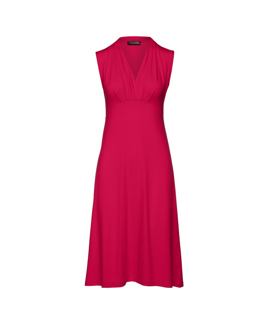 Image for Solid Colour Empire Line Sleeveless Dress in Dark Red