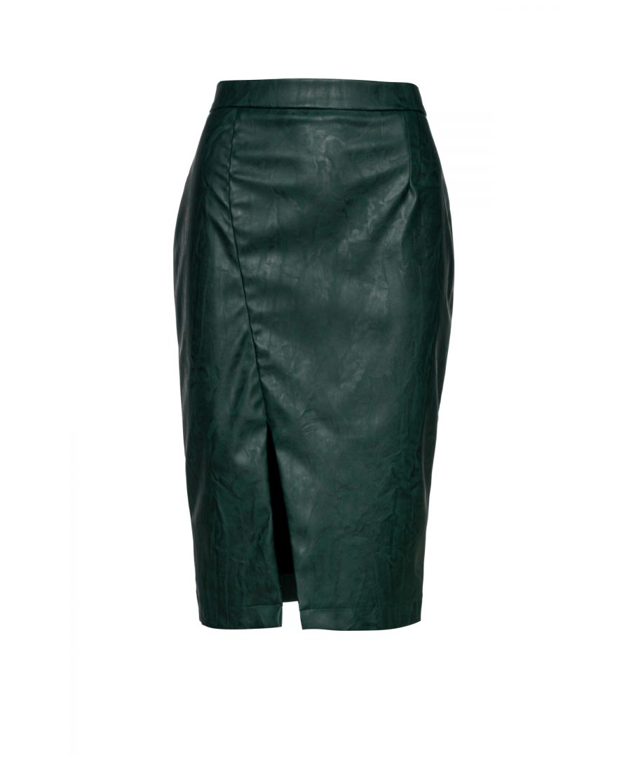 Image for Green Faux Leather Pencil Skirt