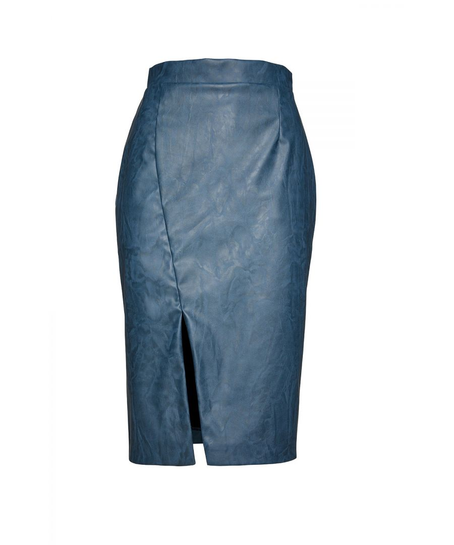 Image for Indigo Faux Leather Pencil Skirt