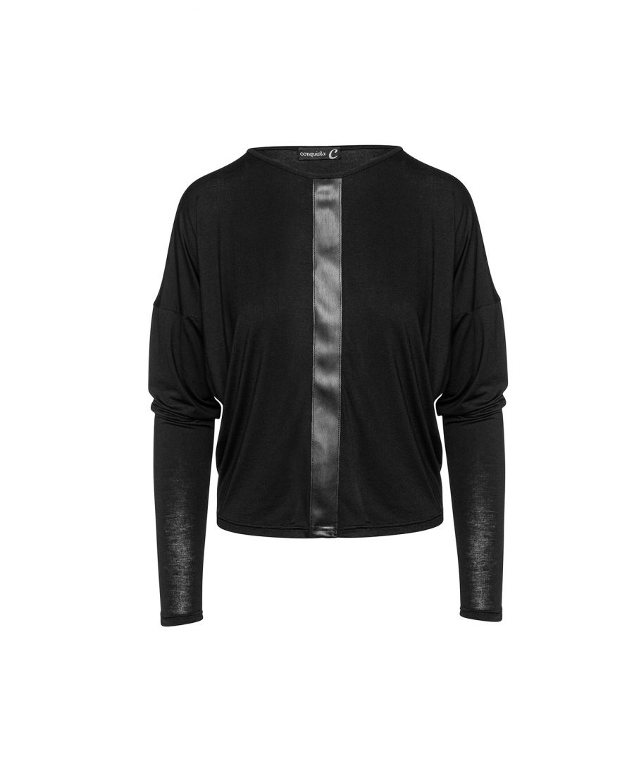 Image for Black Batwing Top with Faux Leather Detail