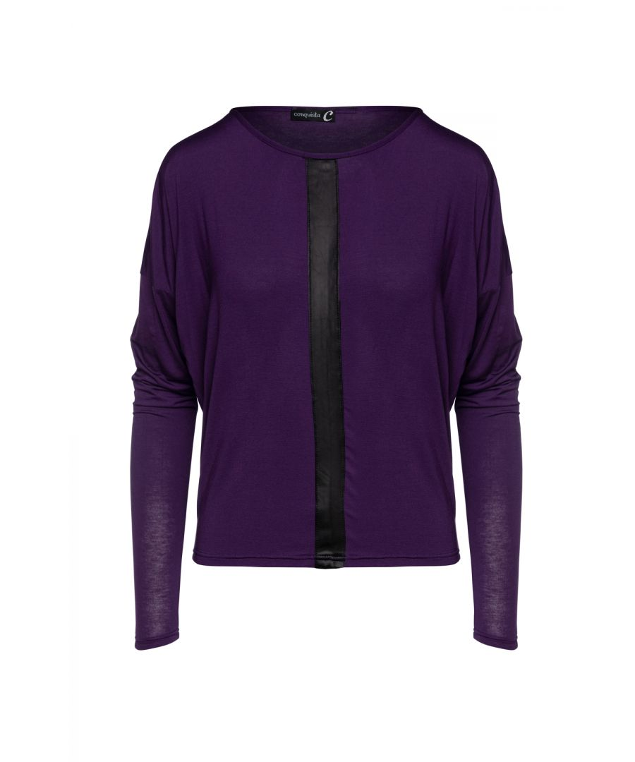 Image for Ink Colour Batwing Top with Faux Leather Detail