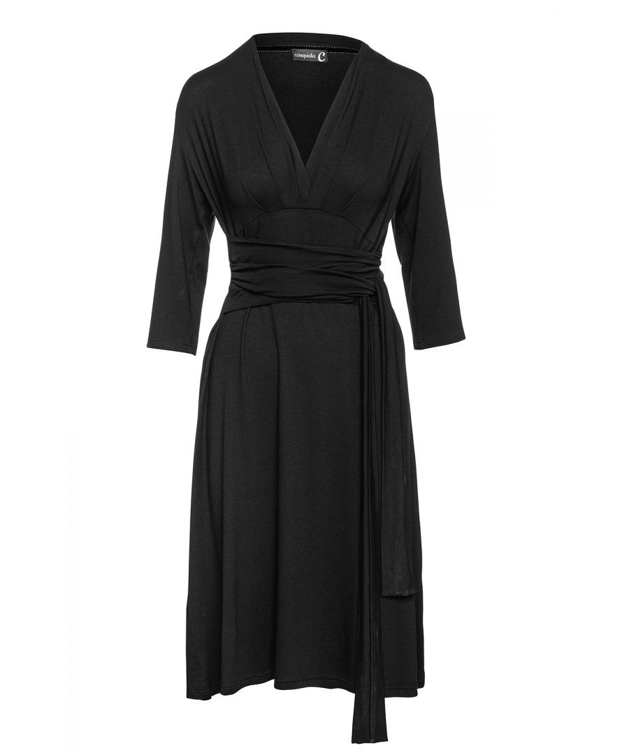 Image for Black Empire Line Dress with Belt