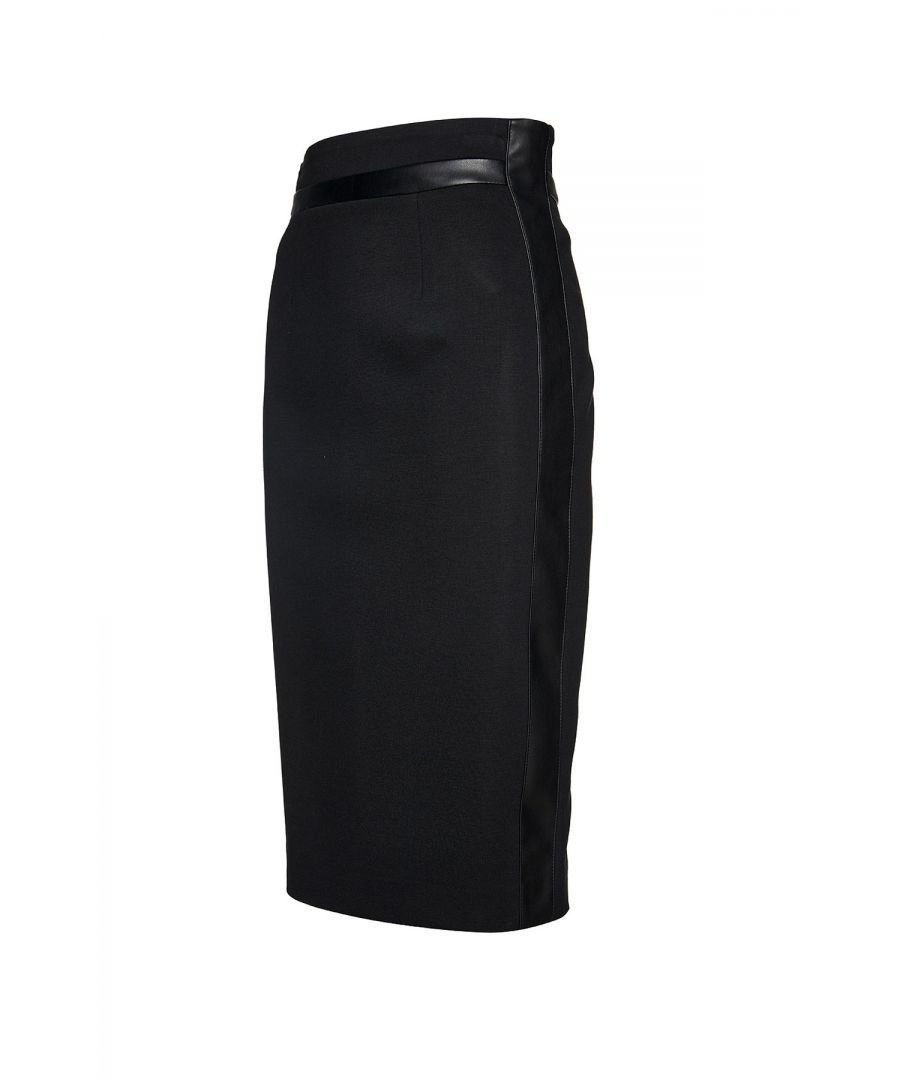 Image for Black Pencil Skirt with Leather Detail
