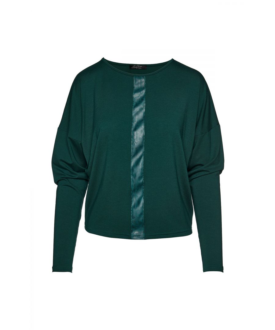 Image for Green Batwing Top with Faux Moiré Leather Detail