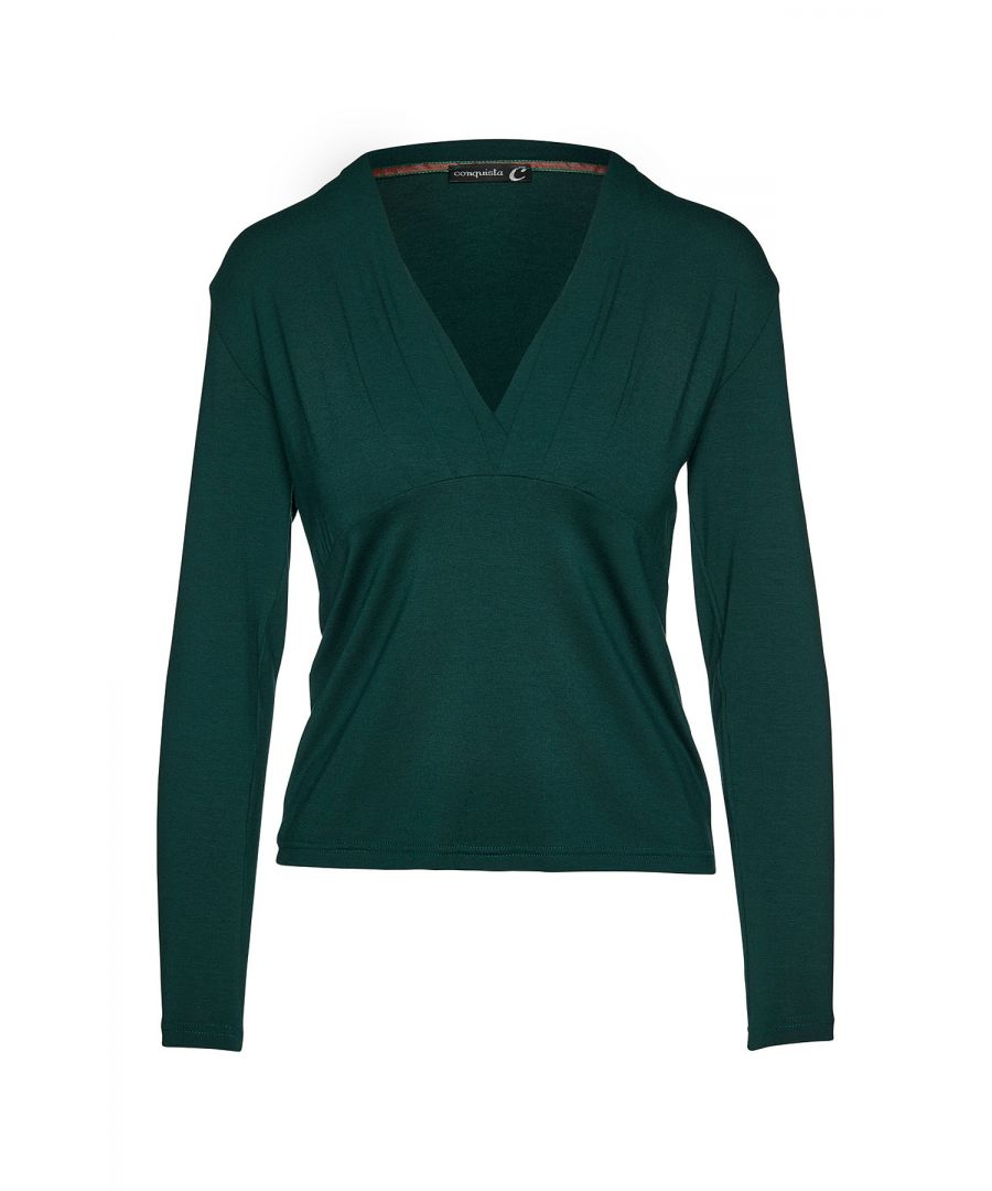 Image for Green Long Sleeve Faux Wrap Top in Stretch Jersey Sustainable Fabric