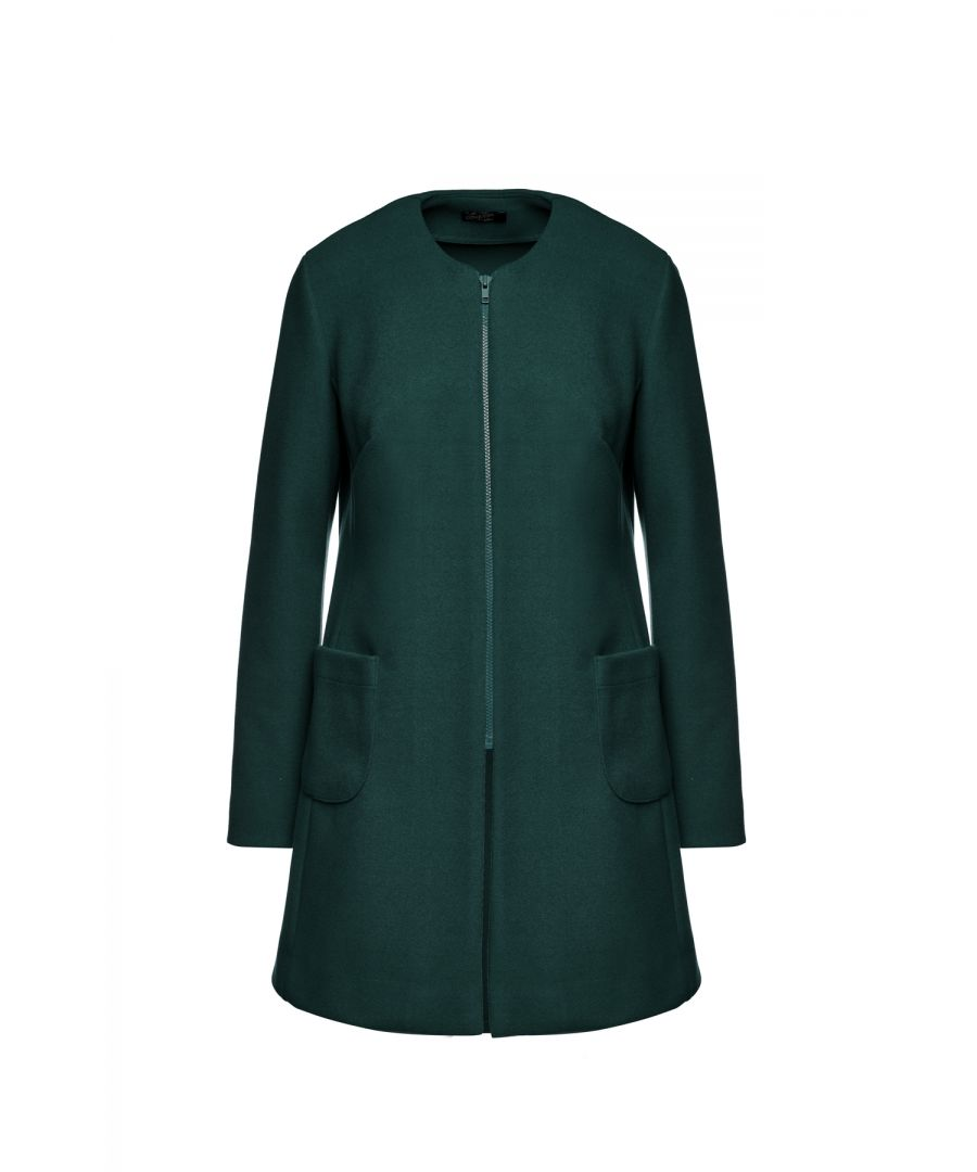 Image for Dark Green Long Sleeve Mélange Coat with Round Neckline
