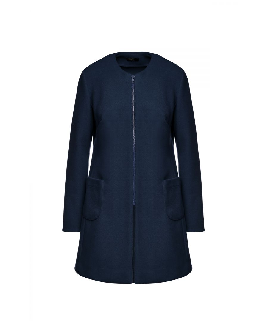 Image for Navy Long Sleeve Mélange Coat with Round Neckline
