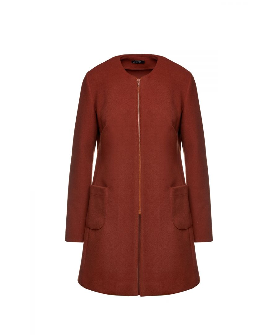 Image for Brick Red Long Sleeve Mélange Coat with Round Neckline