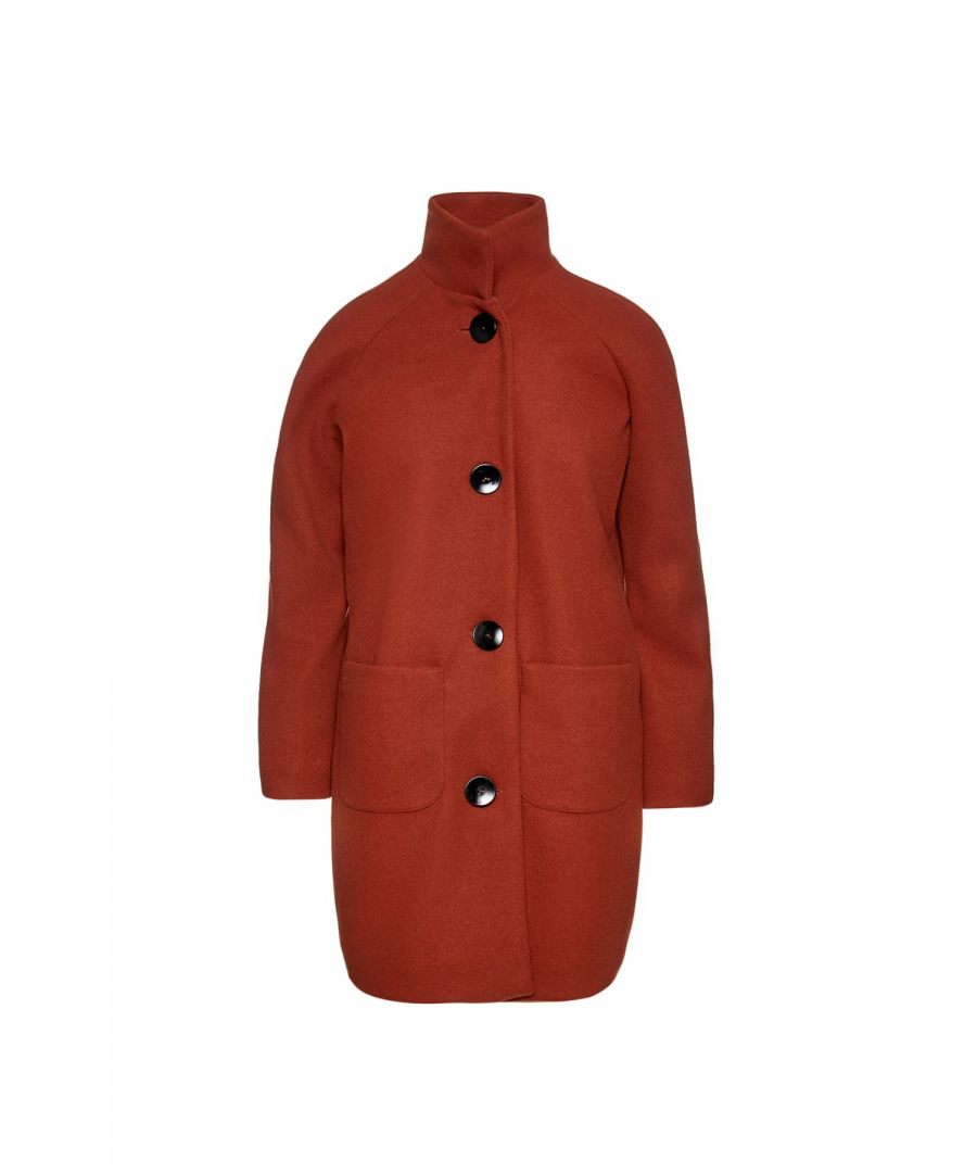 Image for Faux Mouflon Brick Red Coat by Conquista Fashion