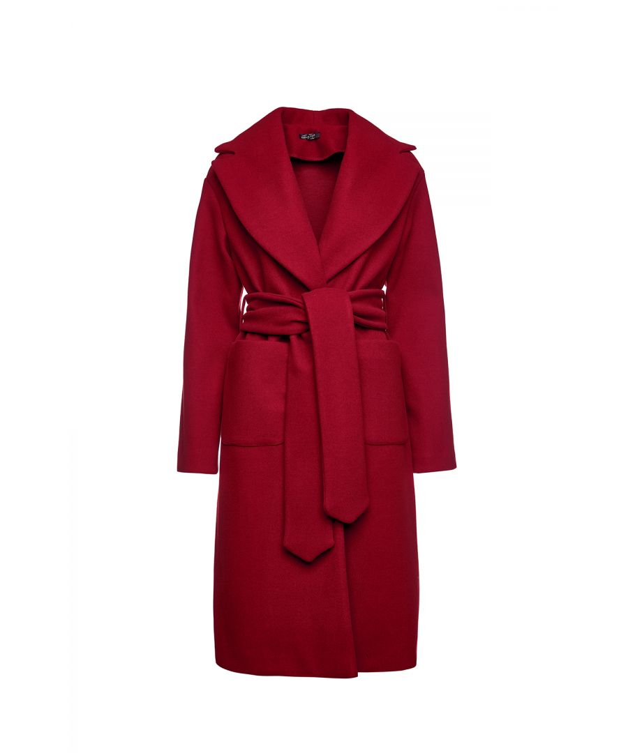 Image for Long Dark Red Faux Mouflon Coat with Belt