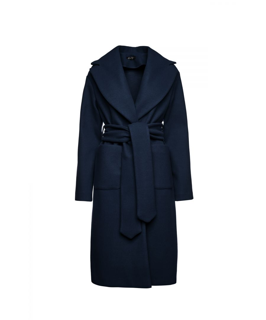 Image for Long Navy Blue Mouflon Coat with Belt