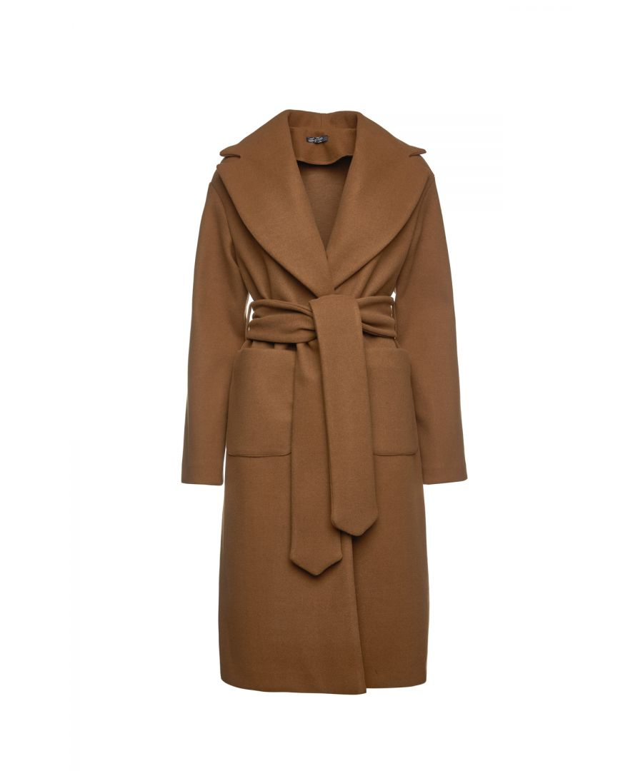 Image for Long Camel Mouflon Coat with Belt