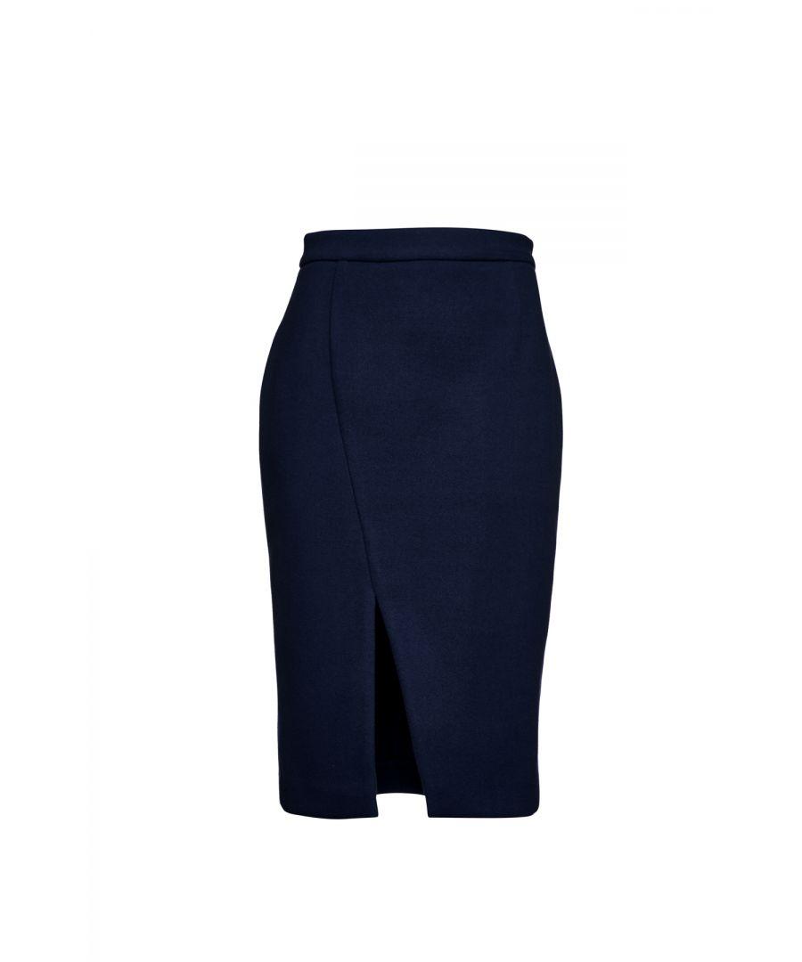 Image for Navy Blue Mouflon Pencil Skirt