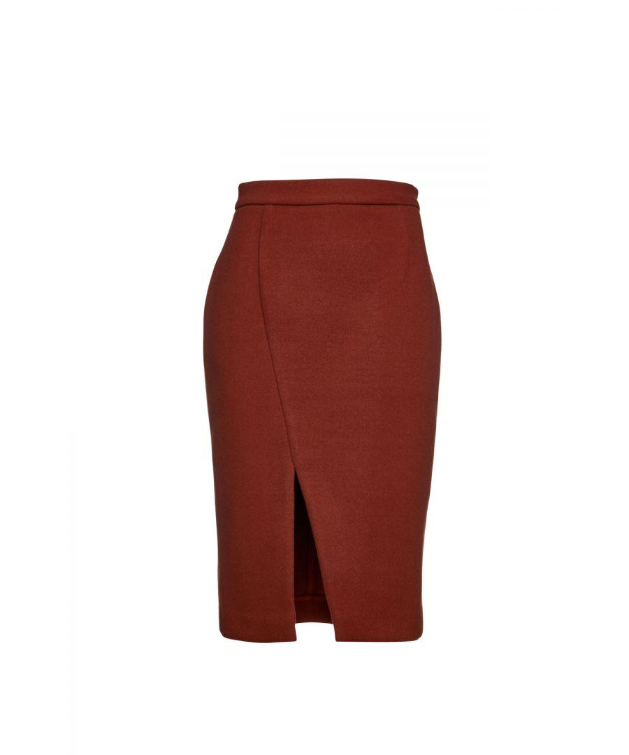 Image for Brick Red Mouflon Pencil Skirt