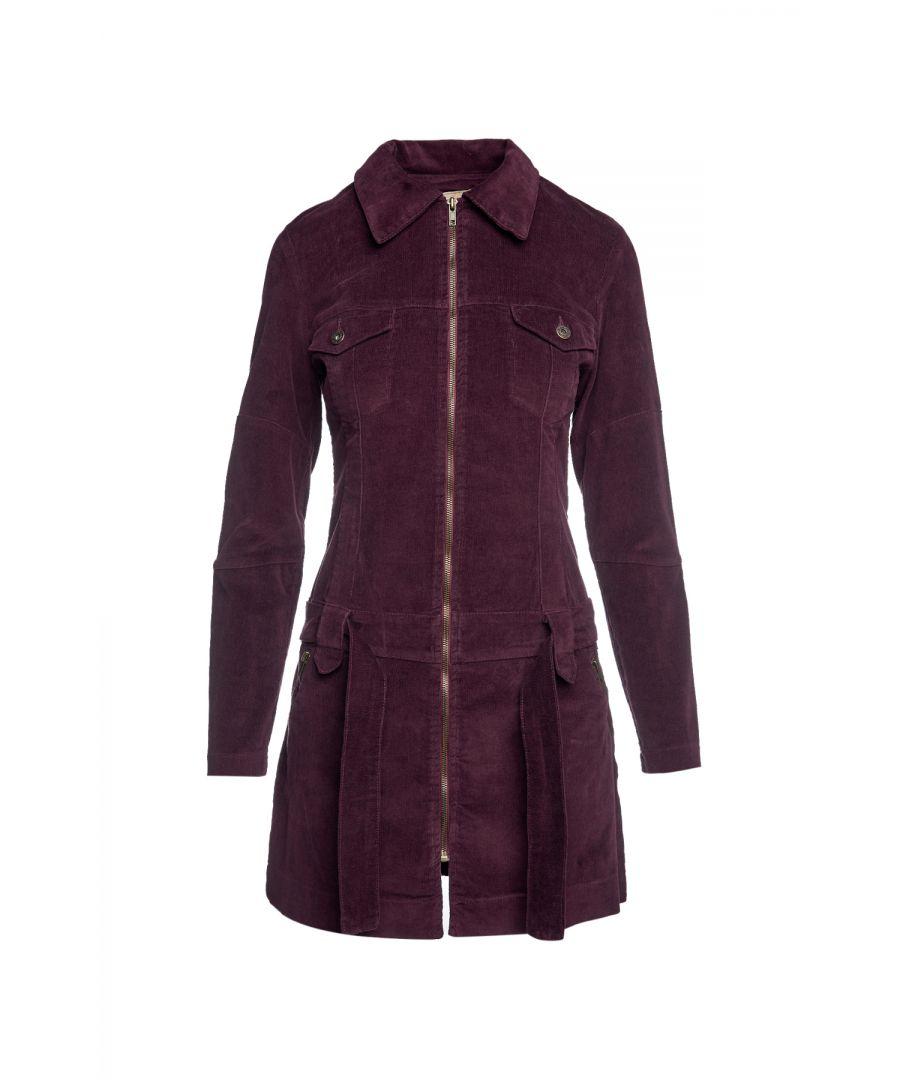 Image for Dark Burgundy Corduroy Coat with Belt