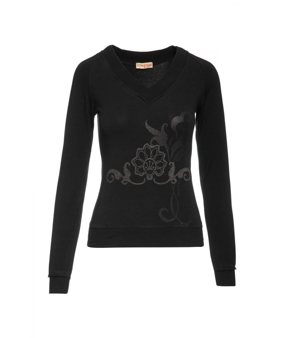 Image for Black Long Sleeve Top with a Silver & Black Print
