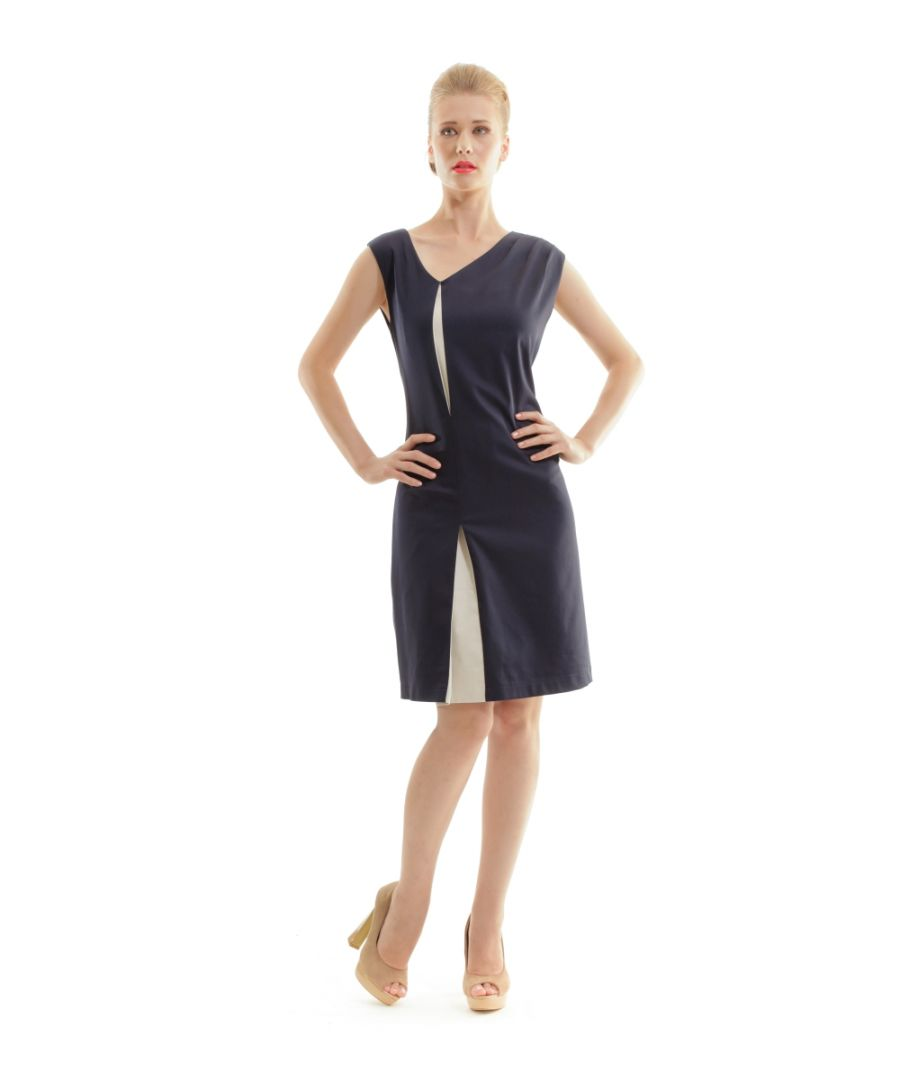 Image for Sleeveless Contrast Pleat Dress
