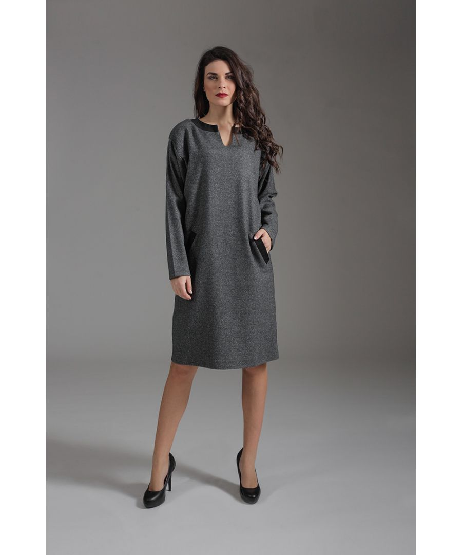 Image for Long Sleeve Sack Dress with Pocket and Collar Detail