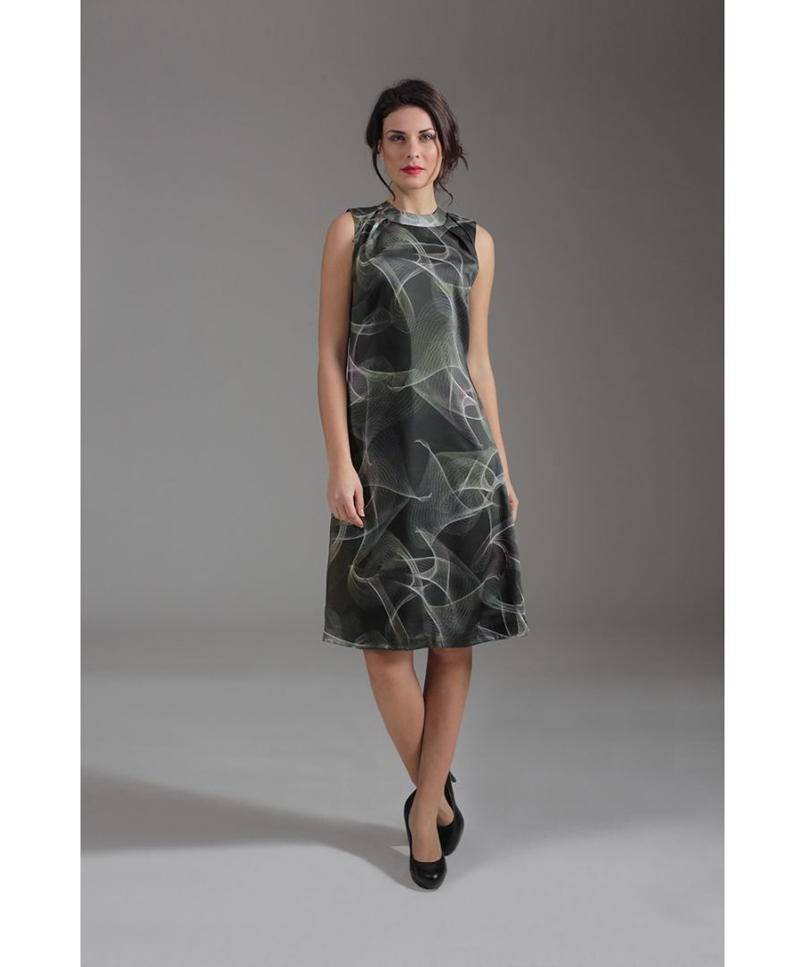 Image for Abstract Print Sleeveless A Line Dress