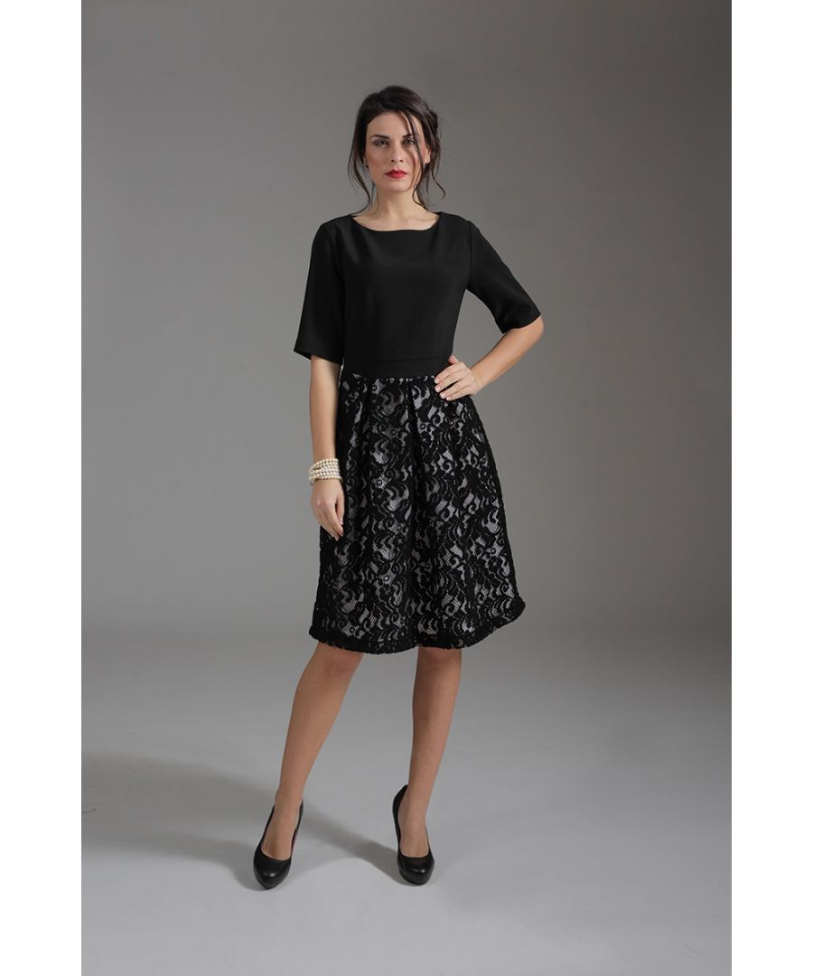 Image for Elbow Sleeve Dress with Lace Skirt