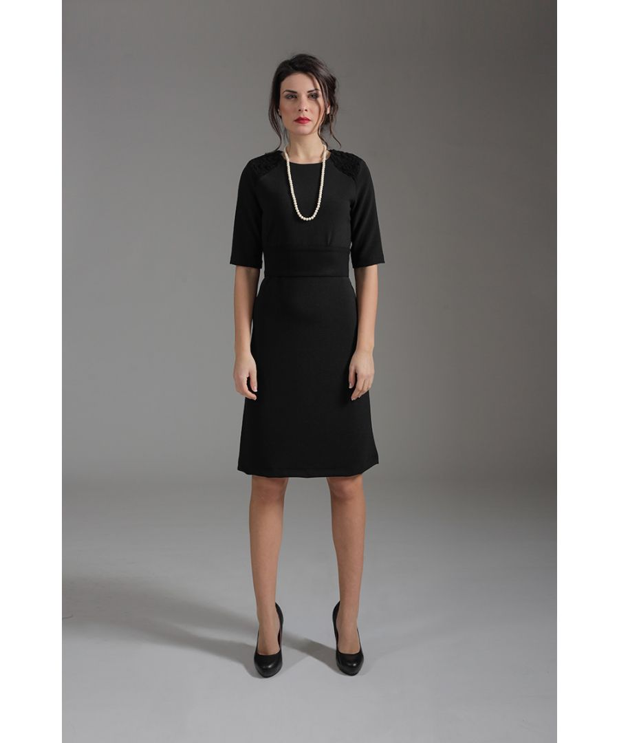 Image for A Line Elbow Sleeve Dress with Burn Out Detail