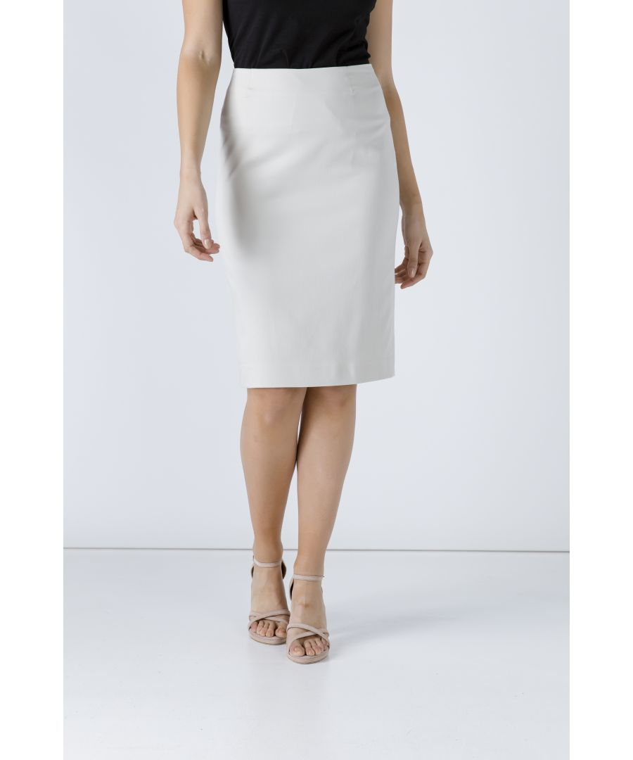 Image for Cream Pencil Skirt by Conquista Fashion