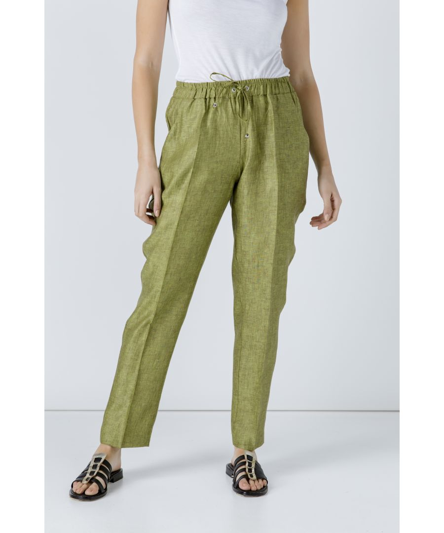 Image for Green Linen Drawstring Pants