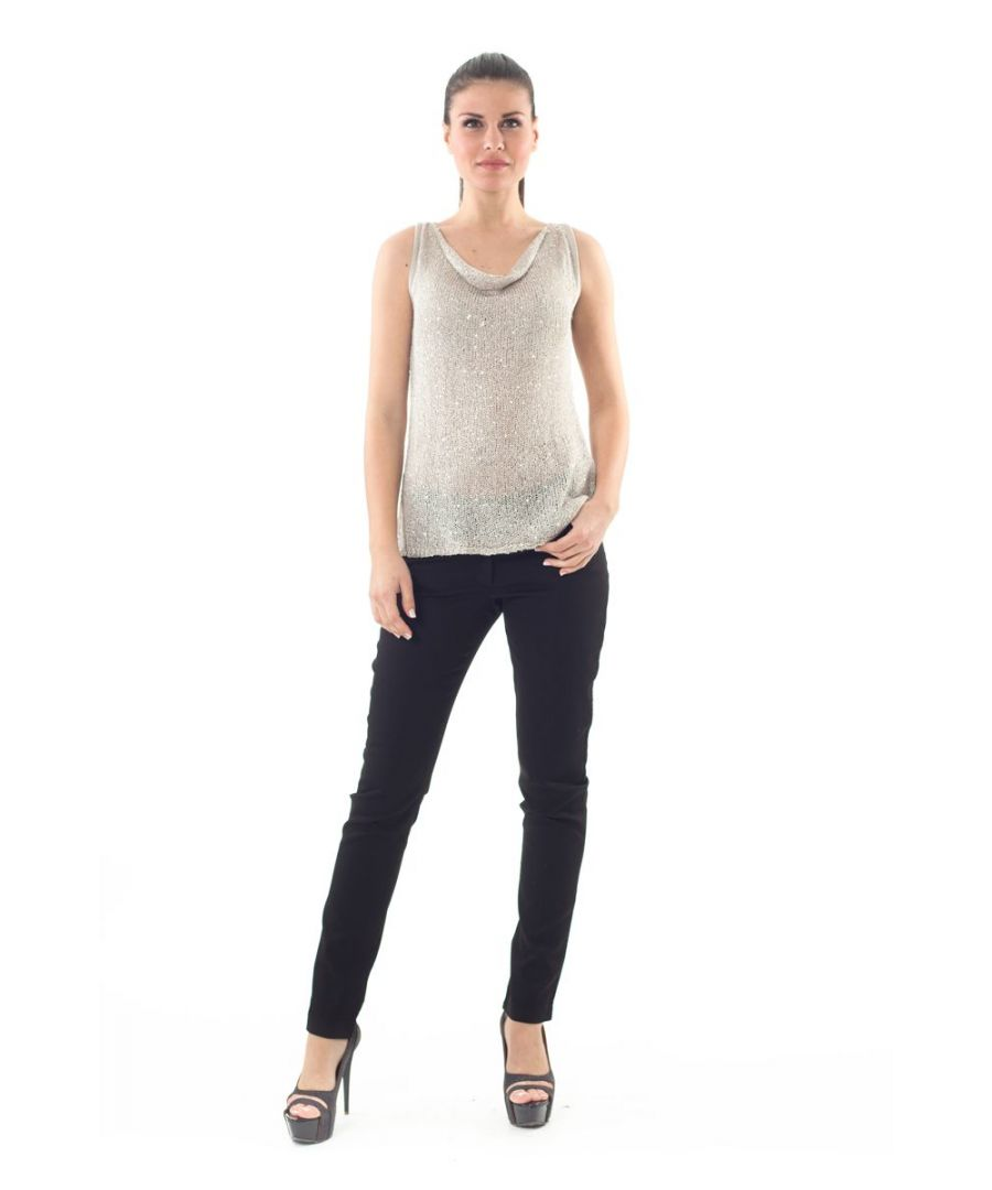 Image for Cowl Neck Sequin Detail Top