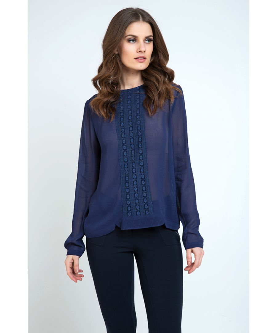 Image for Sheer Navy Blouse