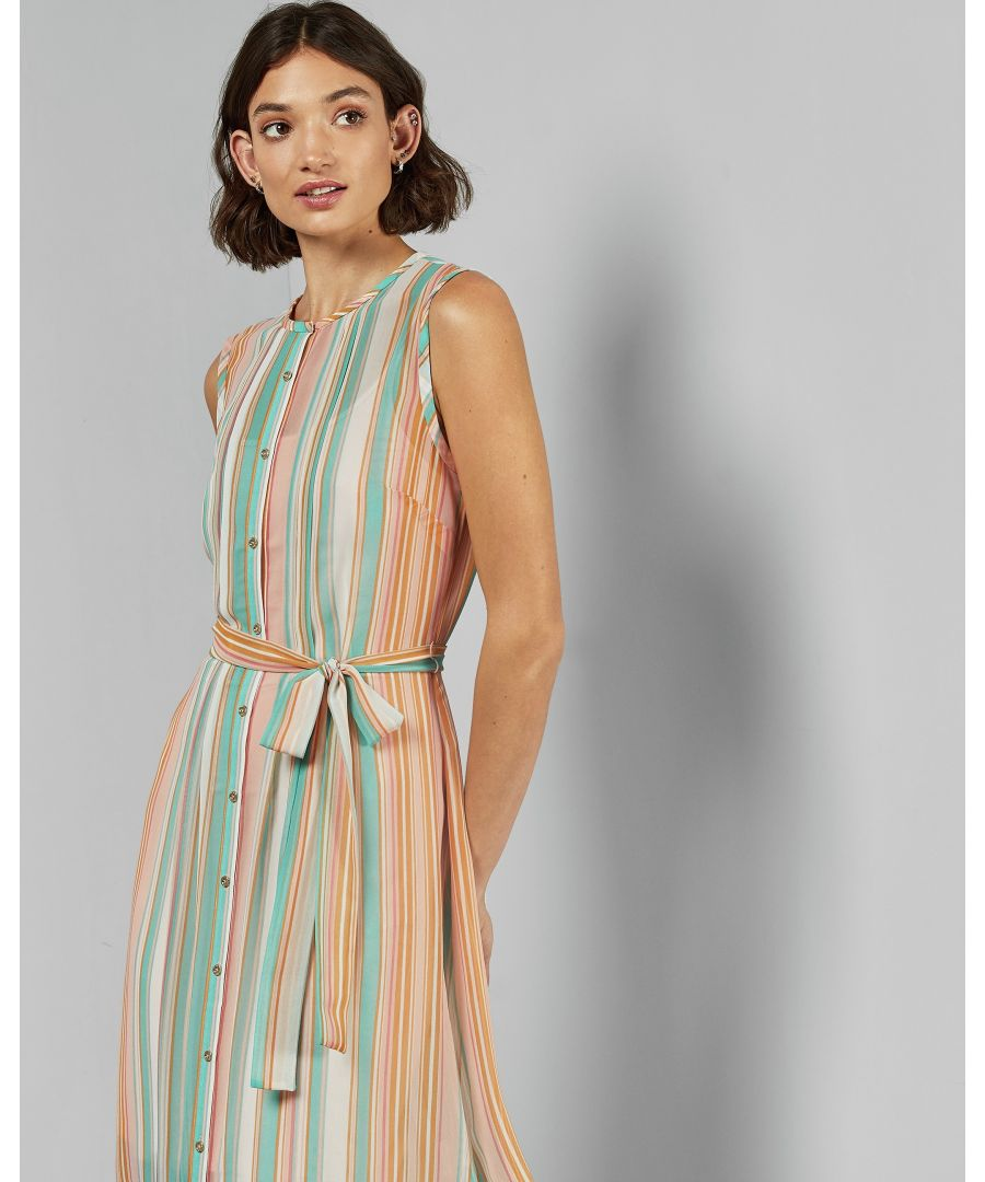 Image for Ted Baker Canpar Cbn Candy Stripe Sleevedless Dress, Orange