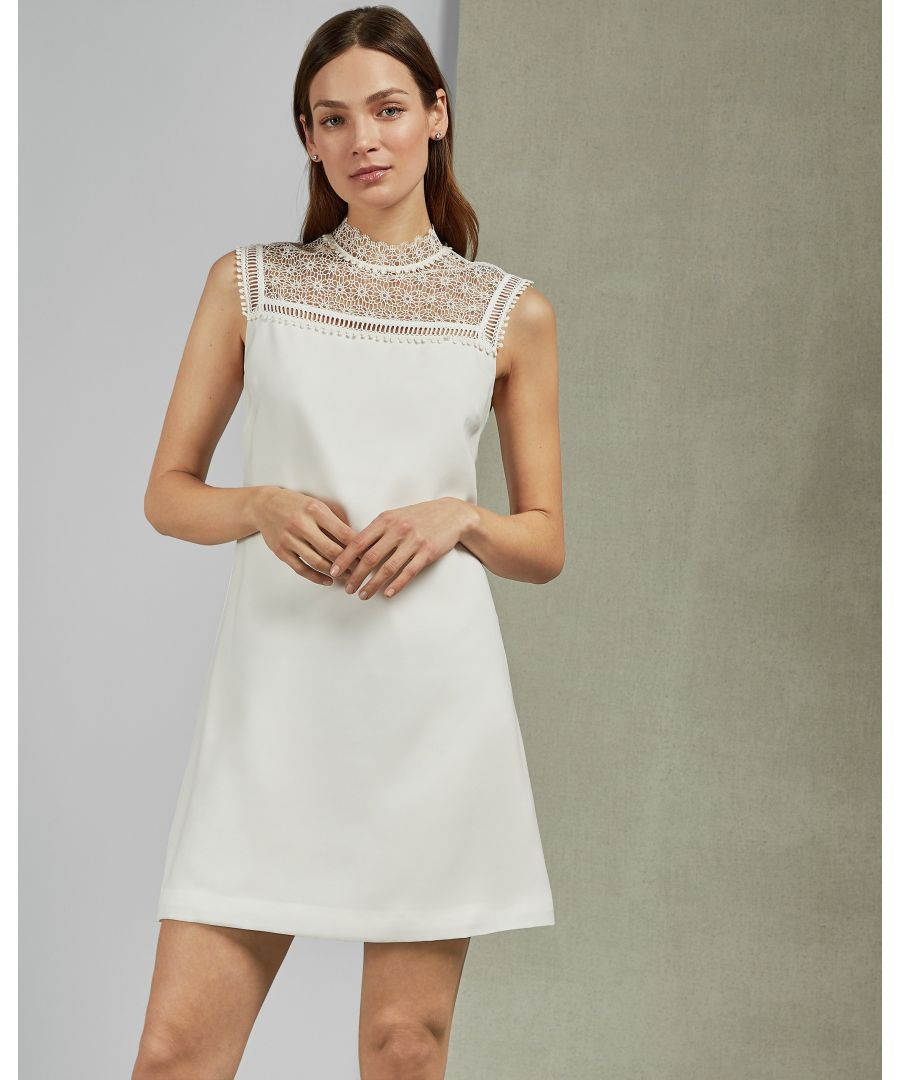 Image for Ted Baker Carsey Lace Yoke And Sleeve Tunic in Ivory