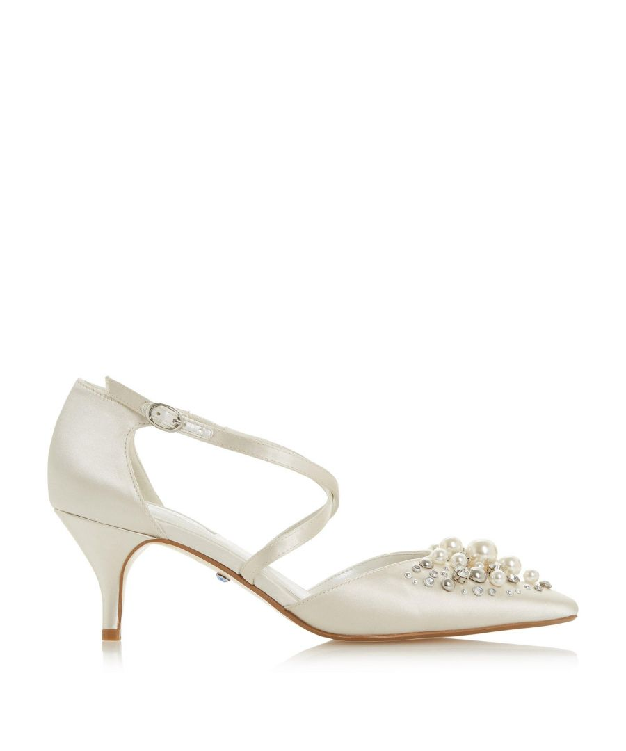 Image for Dune Ladies CHAMPAGNE JL Diamante Kitten Heel Court Shoes