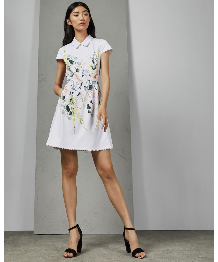 Image for Ted Baker Charsy Elegance Scallop Ponte Dress, White