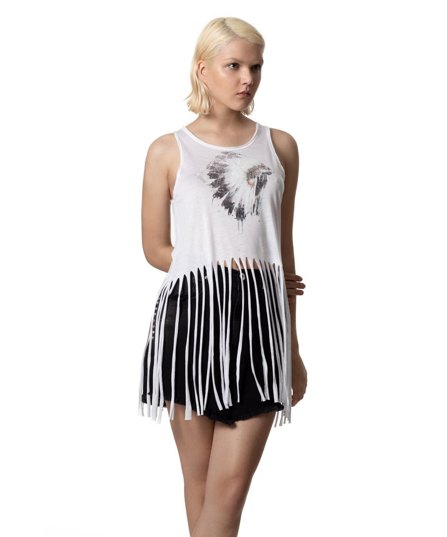 Image for Relaxed Cut Tank Top With Fringe