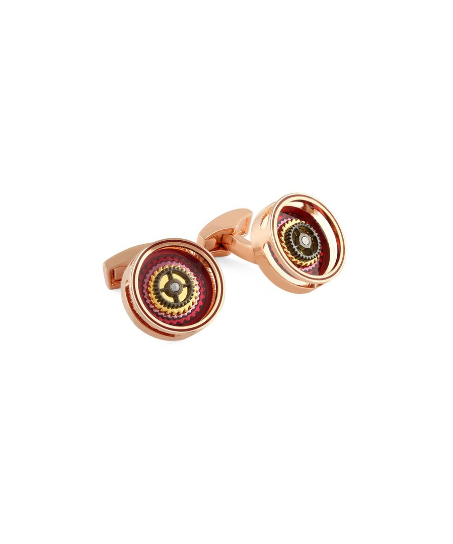 Image for Gear Bullseye rose gold-plated cufflinks