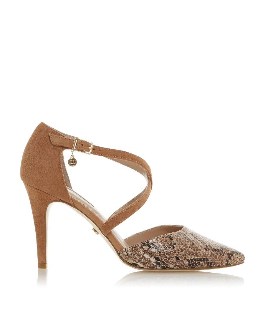 Image for Dune Ladies CLANCY Cross Strap Heeled Court Shoes