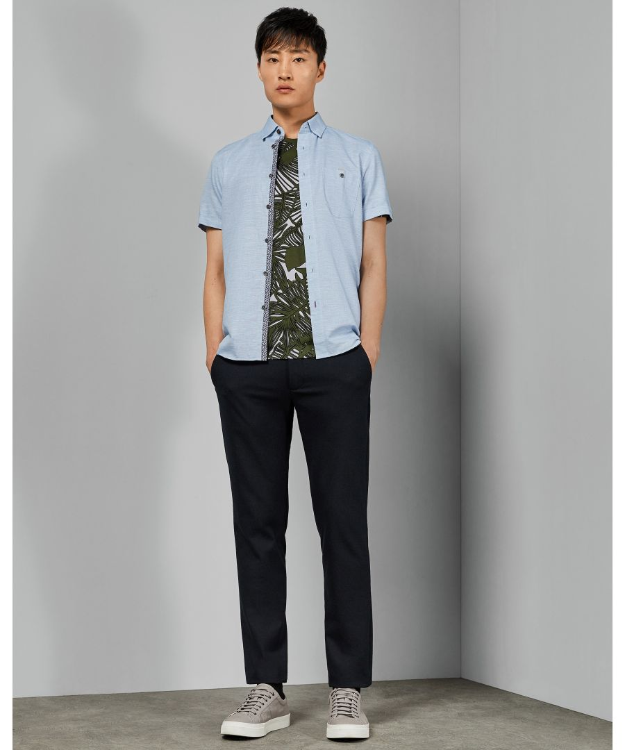 Image for Ted Baker Clion Short-Sleeved Linen Shirt, Blue