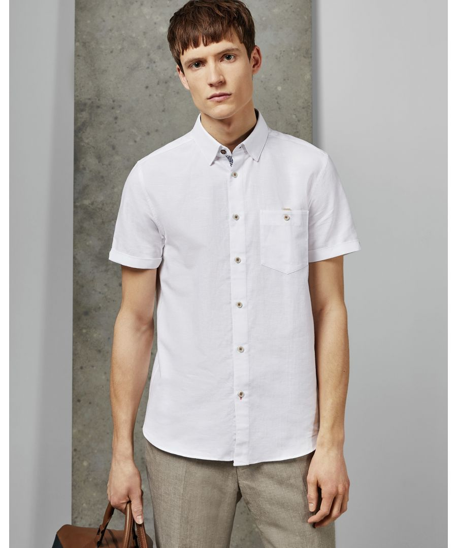 Image for Ted Baker Clion Short-Sleeved Linen Shirt, White