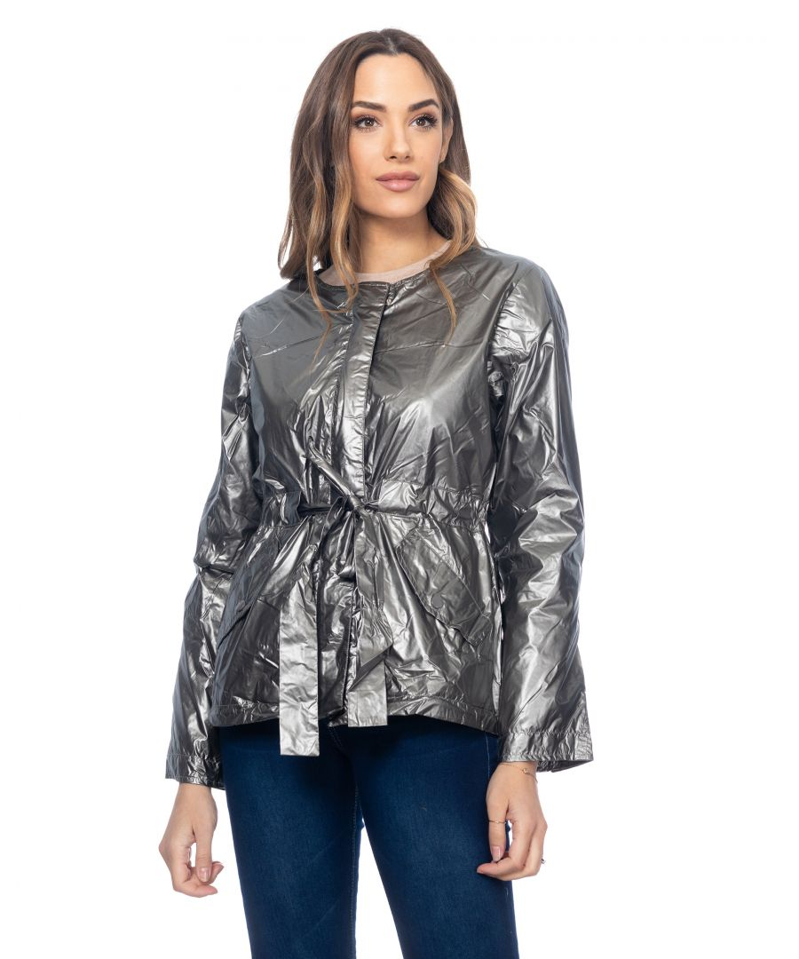 Image for Round neck  metallic widestopper with elastic waist