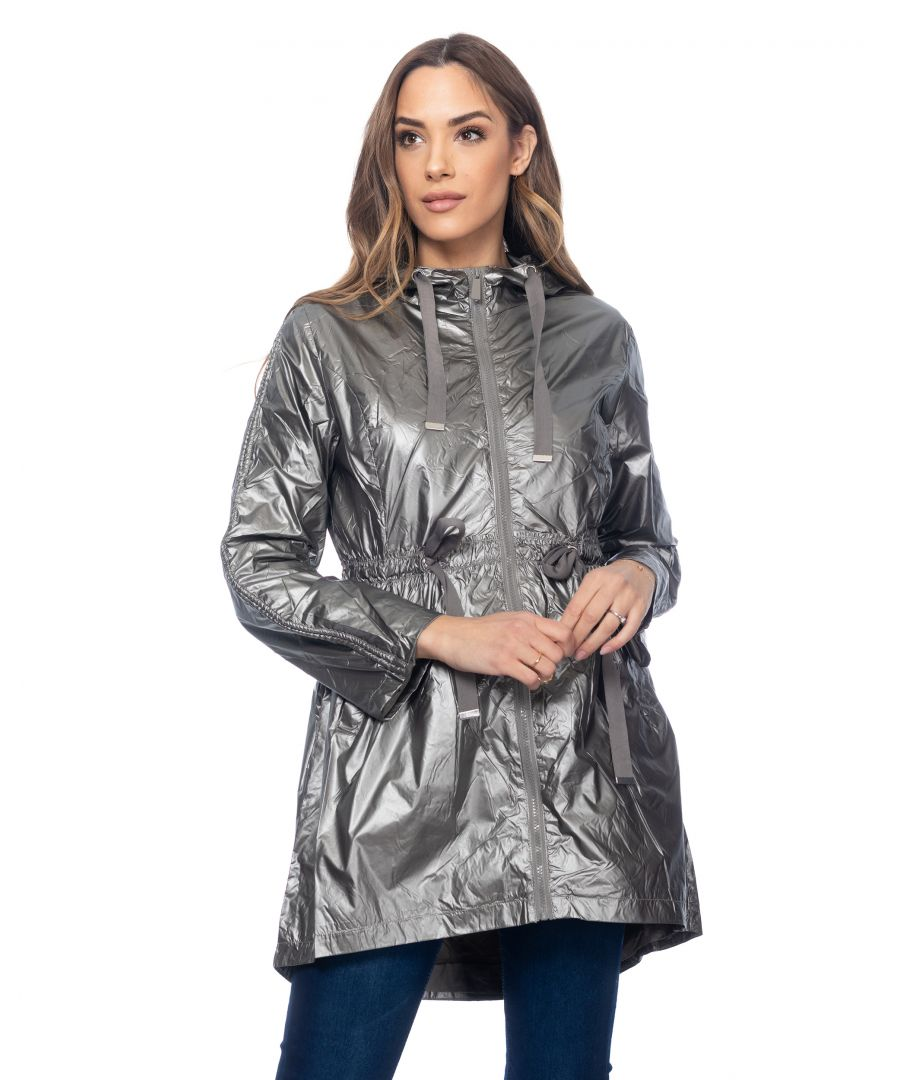 Image for Long metallic jacket with hood, elastic waist with strings and side pockets