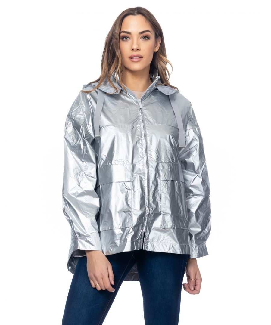 Image for Metalliic jacket oversize with elastic back and hood