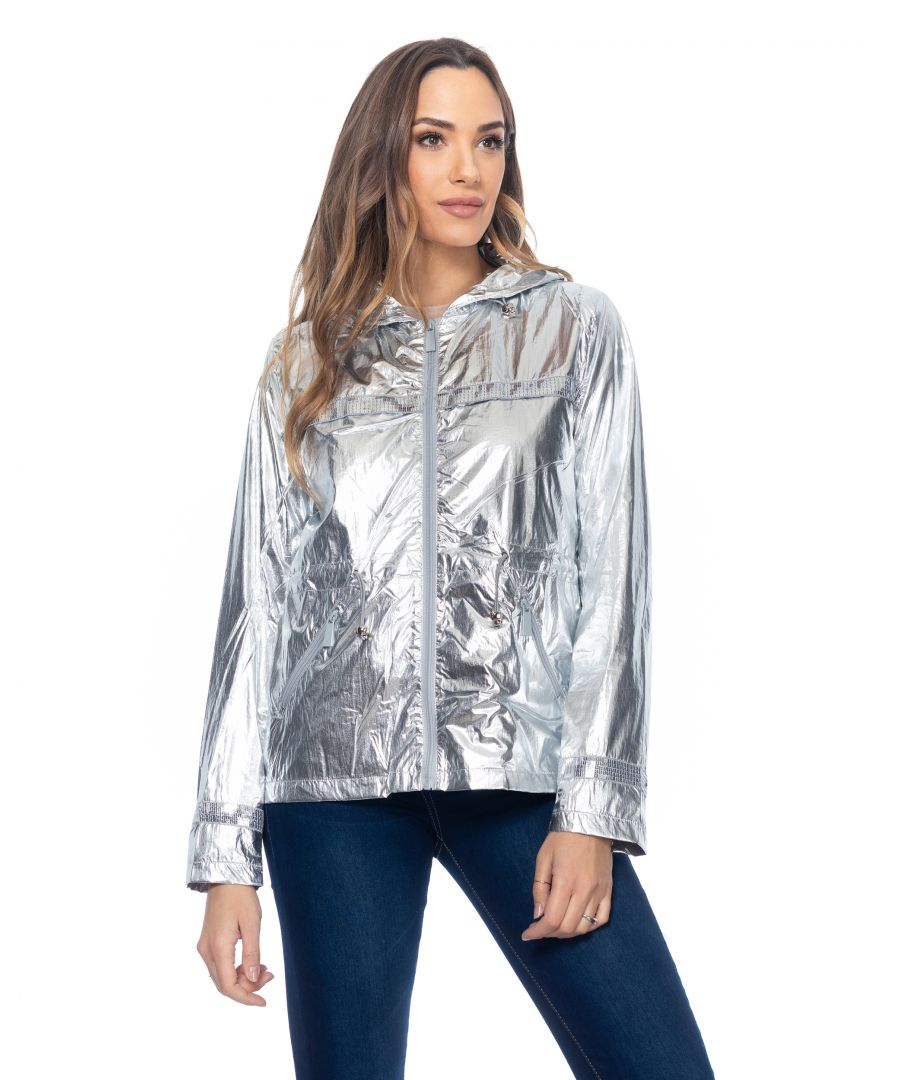 Image for Metallic jacket  windstopper with hood and elastic back