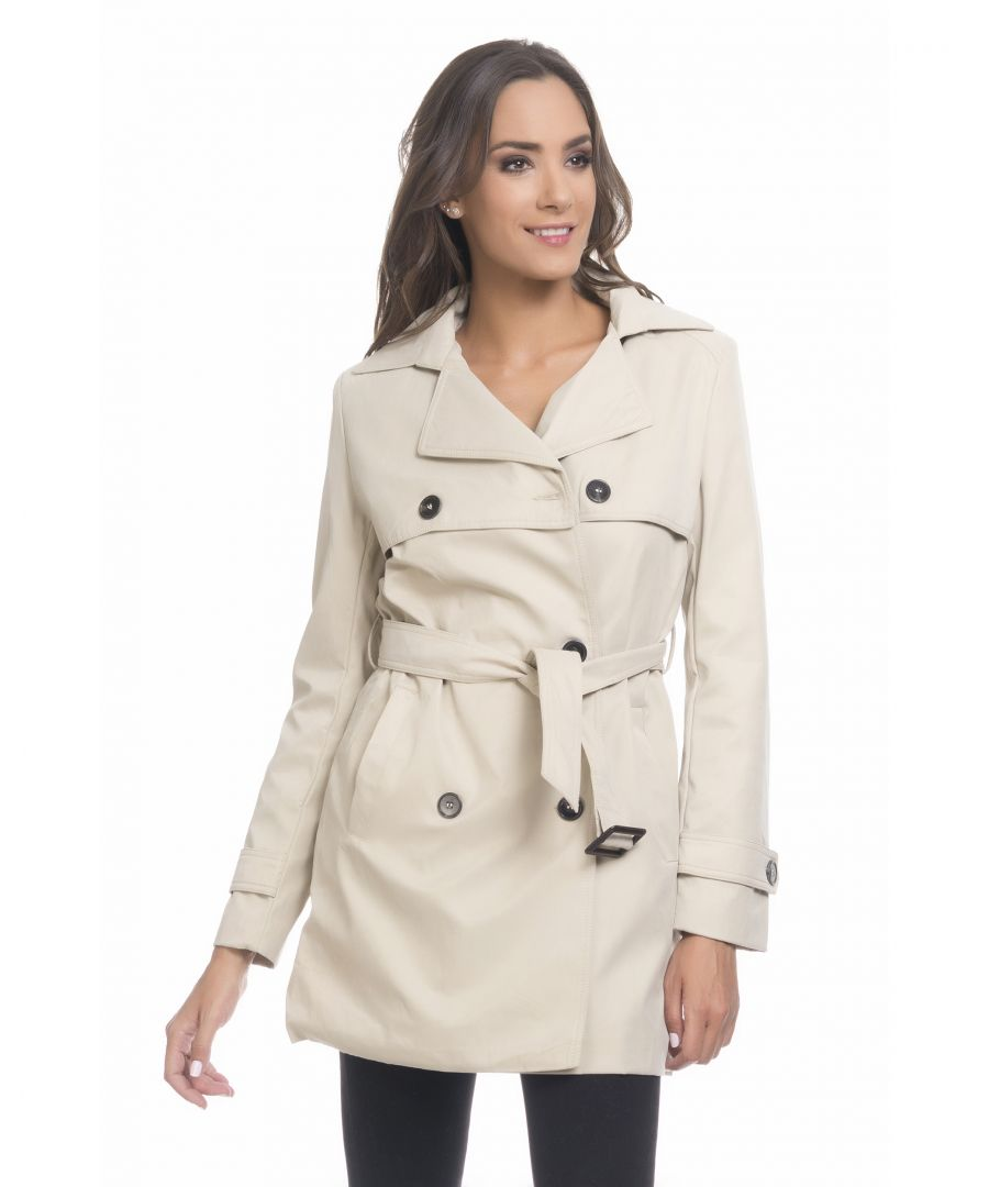 Image for Three-quarter trench coat with buttons and belt