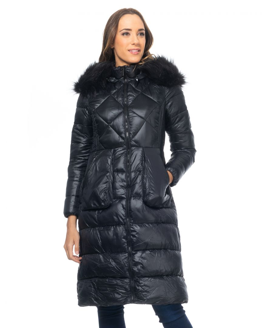 Image for Long padded anorak with detachable hood and faux fur and zip pockets.